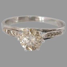 Fancy Brown Diamond Engagement Ring | 18K White Gold | Vintage Israel