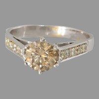 Fancy Brown Diamond Engagement Ring | 14K White Gold | Vintage Israel