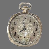 Eterna Gold Pocket Watch   14K White Open Face   Swiss Art Deco Vintage