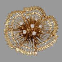 Retro Diamond Gold Brooch | 14K 10K Yellow | Vintage Round Pin USA