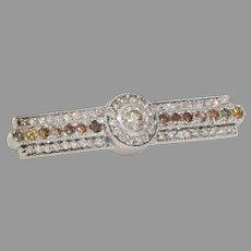 Fancy Colored Diamond Brooch | 18K White Gold | Vintage Bar Pin