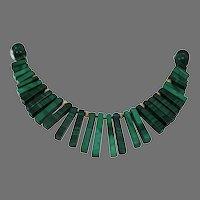 Malachite Bead Choker Necklace   14K Yellow Gold   Vintage Retro Green