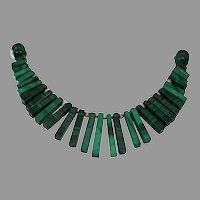Malachite Bead Choker Necklace | 14K Yellow Gold | Vintage Retro Green