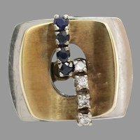 Sapphire Diamond Cocktail Ring | 14K Yellow White Gold | Vintage Retro