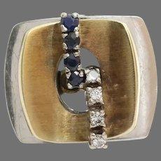 Sapphire Diamond Cocktail Ring   14K Yellow White Gold   Vintage Retro