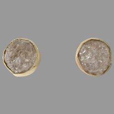 Uncut Diamond Stud Earrings | 14K Yellow Gold | Vintage Rough Push Back
