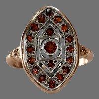 Orange Garnet Navette Ring | 14K Bicolor Gold | Vintage Fancy Diamond