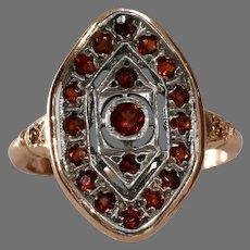 Orange Garnet Navette Ring   14K Bicolor Gold   Vintage Fancy Diamond