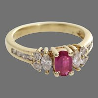 Ruby Diamond Engagement Ring | 14K Yellow Gold | Vintage Cocktail Oval