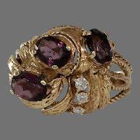 Retro Diamond Garnet Cocktail Ring | 14K Yellow Gold | Vintage Israel