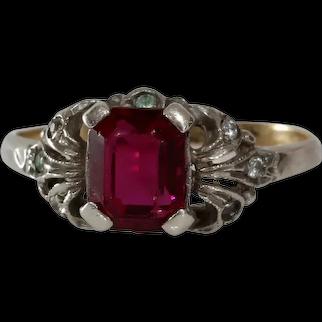 Rubellite Tourmaline Cocktail Ring | 9K Bicolor Gold | Vintage Topaz