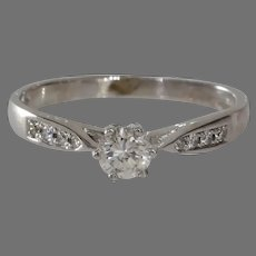 Vintage Diamond Engagement Ring | 14K White Gold | Round Brilliant Cut