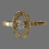 Solitaire Diamond Engagement Ring | 14K Yellow Gold | Vintage Cocktail