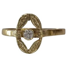 Solitaire Diamond Engagement Ring   14K Yellow Gold   Vintage Cocktail