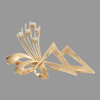 Retro Diamond Brooch | 9K Yellow Gold Brilliant | Vintage Bow UK 9ct