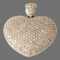 Diamond Heart Pendant | 9K White Gold | Vintage Brilliant Cut Pave