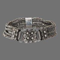 Vintage Yemeni Silver Bracelet   Afghan Four Row   Ethnic Berber 925
