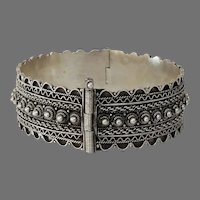 Vintage Silver Cuff Bracelet   Ethnic Berber Bedouin   Yemeni Afghan Boho