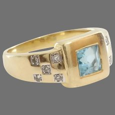 Aquamarine Diamond Ring | 8K Yellow White Gold | Vintage Square Cut