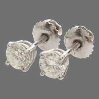 Diamond Stud Earrings | 14K White Gold | Vintage Brilliant 1 Carat