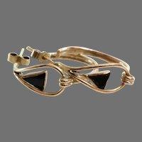 Retro Onyx Earrings | 9K Yellow Gold Hoops | Vintage Black Triangle