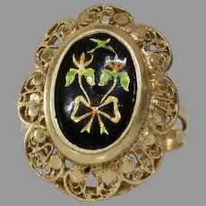 Enamel Gold Cocktail Ring   14K Yellow Floral Bow   Vintage Israel