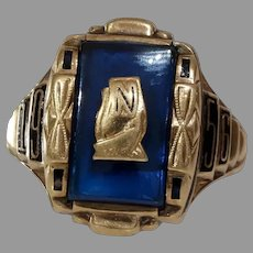 1956 Gold Date Ring   10K Yellow Blue   Vintage Retro Signet Initial N