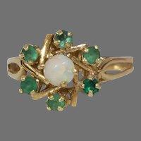 Emerald Opal Cocktail Ring   14K Yellow Gold Star   Vintage Magen David