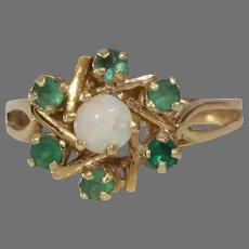 Emerald Opal Cocktail Ring | 14K Yellow Gold Star | Vintage Magen David