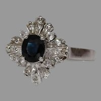 Sapphire Cubic Zirconia Ring | Sterling Silver | Vintage Cocktail Blue