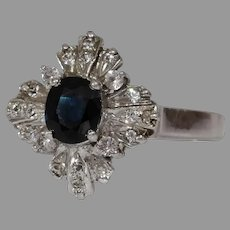 Sapphire Cubic Zirconia Ring   Sterling Silver   Vintage Cocktail Blue