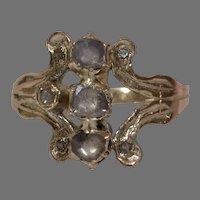 Georgian Three Stone Diamond Ring | 14K Rose Gold | Antique Victorian