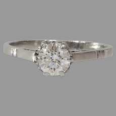 Art Deco Diamond Engagement Ring | 14K White Gold | Vintage Solitaire