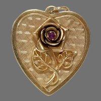 Retro Rose Heart Pendant   14K Yellow Gold Ruby   Vintage Jewelry USA