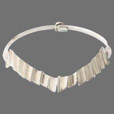 Vintage V-Shaped Choker Necklace | Modernist Sterling Silver | Mexico
