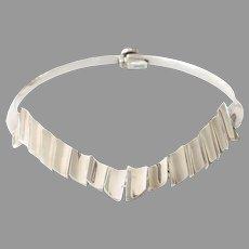 Vintage V-Shaped Choker Necklace   Modernist Sterling Silver   Mexico