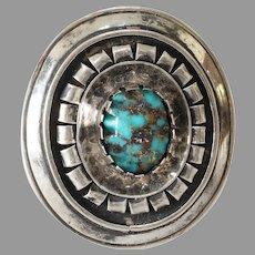 Retro Turquoise Matrix Silver Pendant   Vintage Brooch Israel   Cabochon
