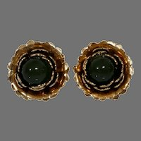 Retro Jade Flower Earrings | 10K Yellow Gold | Vintage Cabochon Green