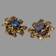 Retro Black Opal Earrings 14K Yellow Gold Solitaire Vintage Precious