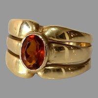 Retro Citrine Cocktail Ring | 14K Yellow Gold | Vintage Solitaire Orange