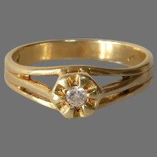 Art Deco Diamond Engagement Ring | 14K Yellow Gold | Solitaire Belcher