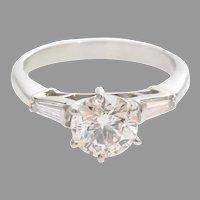 Vintage Diamond Engagement Ring   Platinum Brilliant Cut   Three Stone