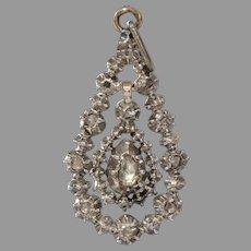 Georgian Diamond Drop Pendant | 14K Yellow Gold | Silver Antique