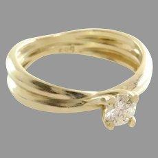 Diamond Engagement Ring | 14K Yellow Gold | Round Brilliant Vintage