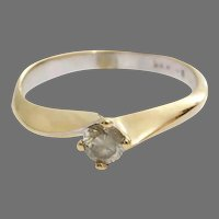 Yellow Diamond Engagement Ring | 14K Gold Vintage | Round Brilliant