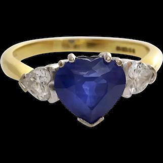 Sapphire Heart Engagement Ring | 18K Bicolor Gold Diamond | Vintage Blue