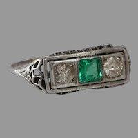 Art Deco Emerald Diamond Ring | Platinum Three Stone | Vintage Filigree
