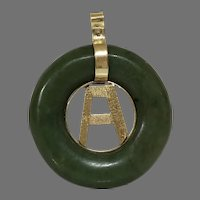 Retro Letter A Jade Pendant   14K Yellow Gold   Vintage Round Green