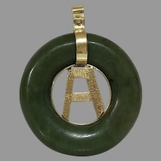 Retro Letter A Jade Pendant | 14K Yellow Gold | Vintage Round Green