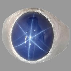 Blue Star Sapphire Mens Ring | 14K White Gold | Vintage Solitaire